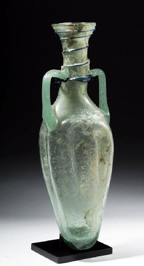 Large Roman Green Glass Handled Perfume Bottle - 4