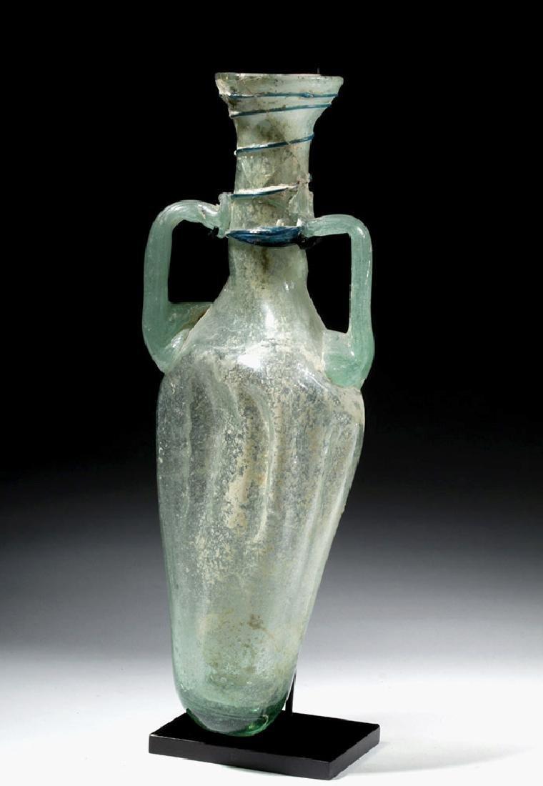 Large Roman Green Glass Handled Perfume Bottle - 5
