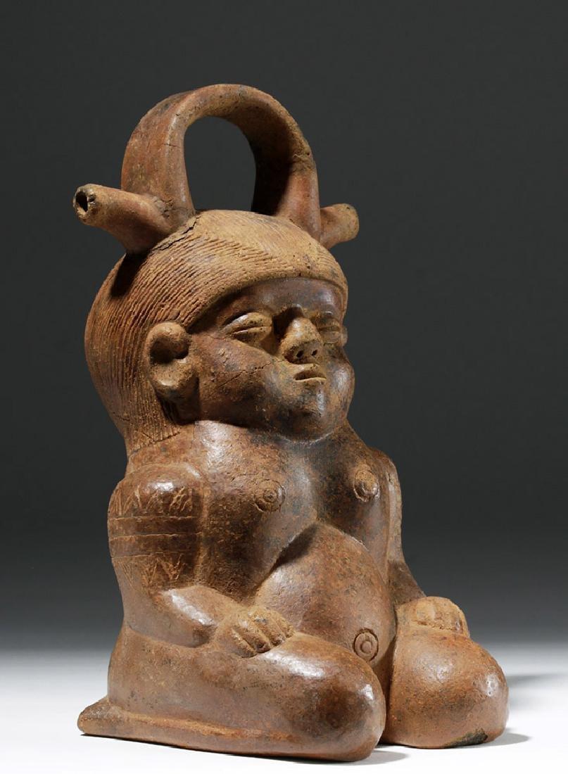 Colombian Alcarraza Pregnant Female Redware Figure - 4