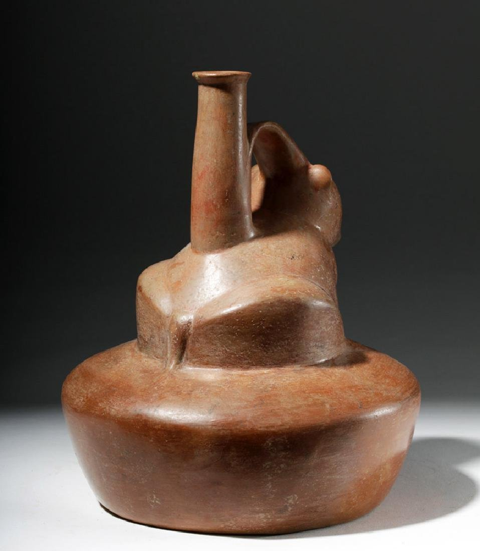 Chorrera Redware Whistling Stirrup Vessel - Coatimundi - 3
