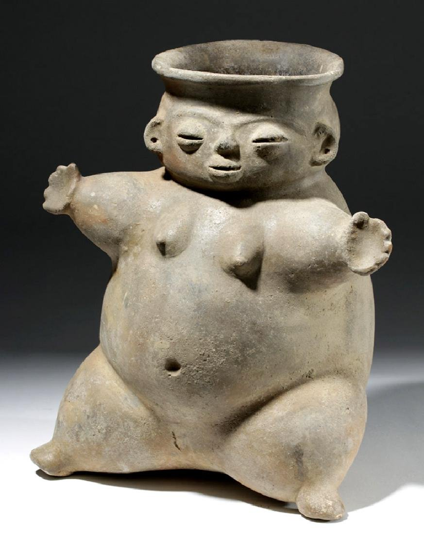 Large Tairona Pregnant Female Effigy Pottery Jar