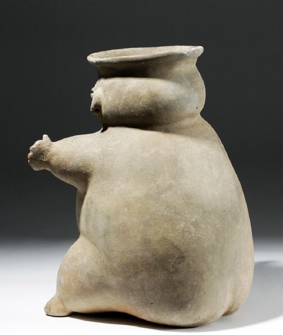 Large Tairona Pregnant Female Effigy Pottery Jar - 2