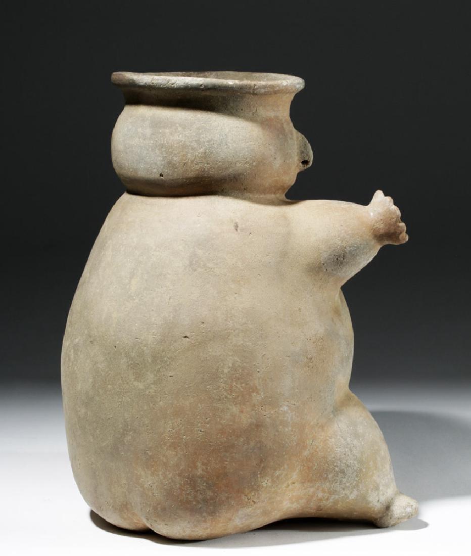 Large Tairona Pregnant Female Effigy Pottery Jar - 3