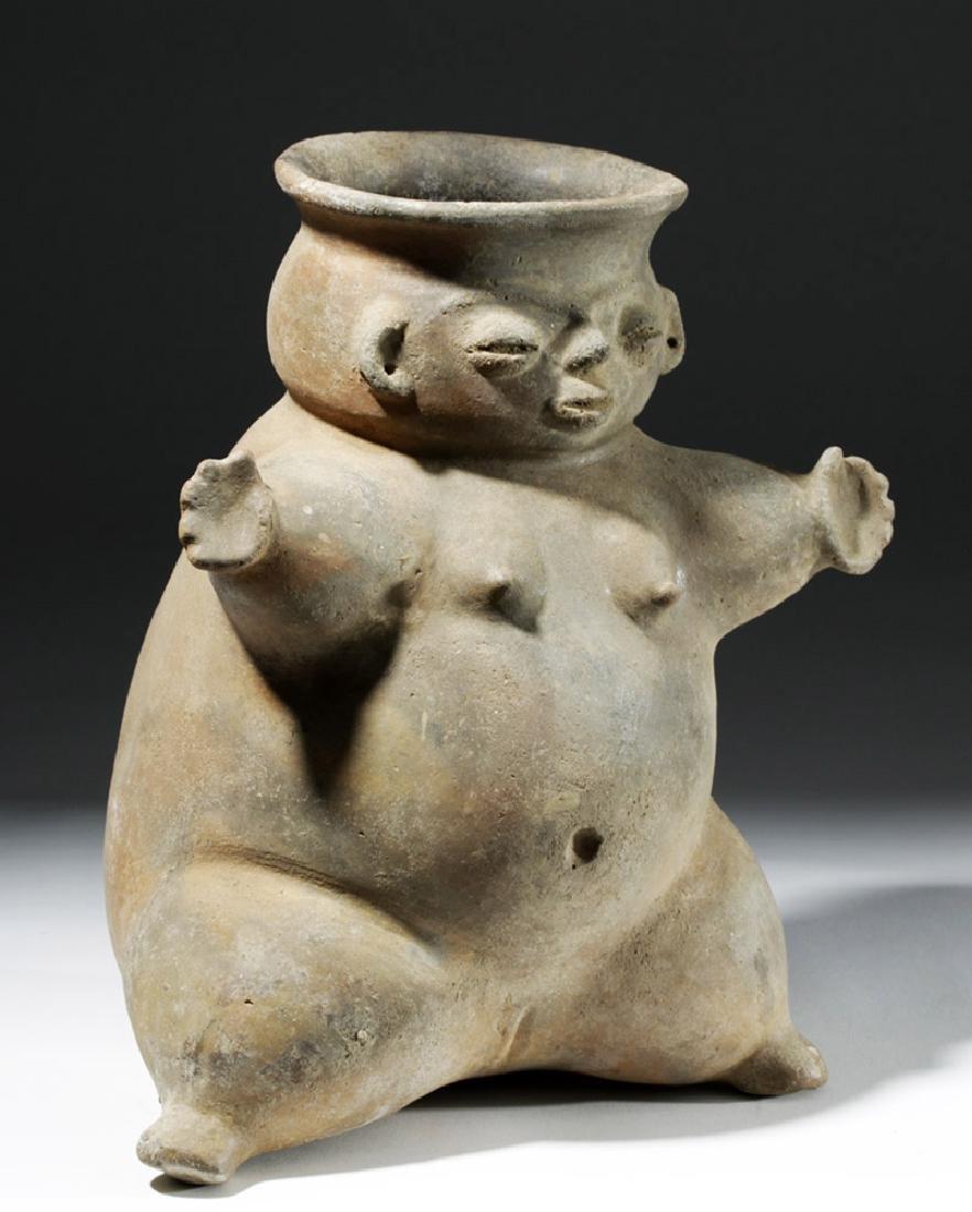Large Tairona Pregnant Female Effigy Pottery Jar - 4
