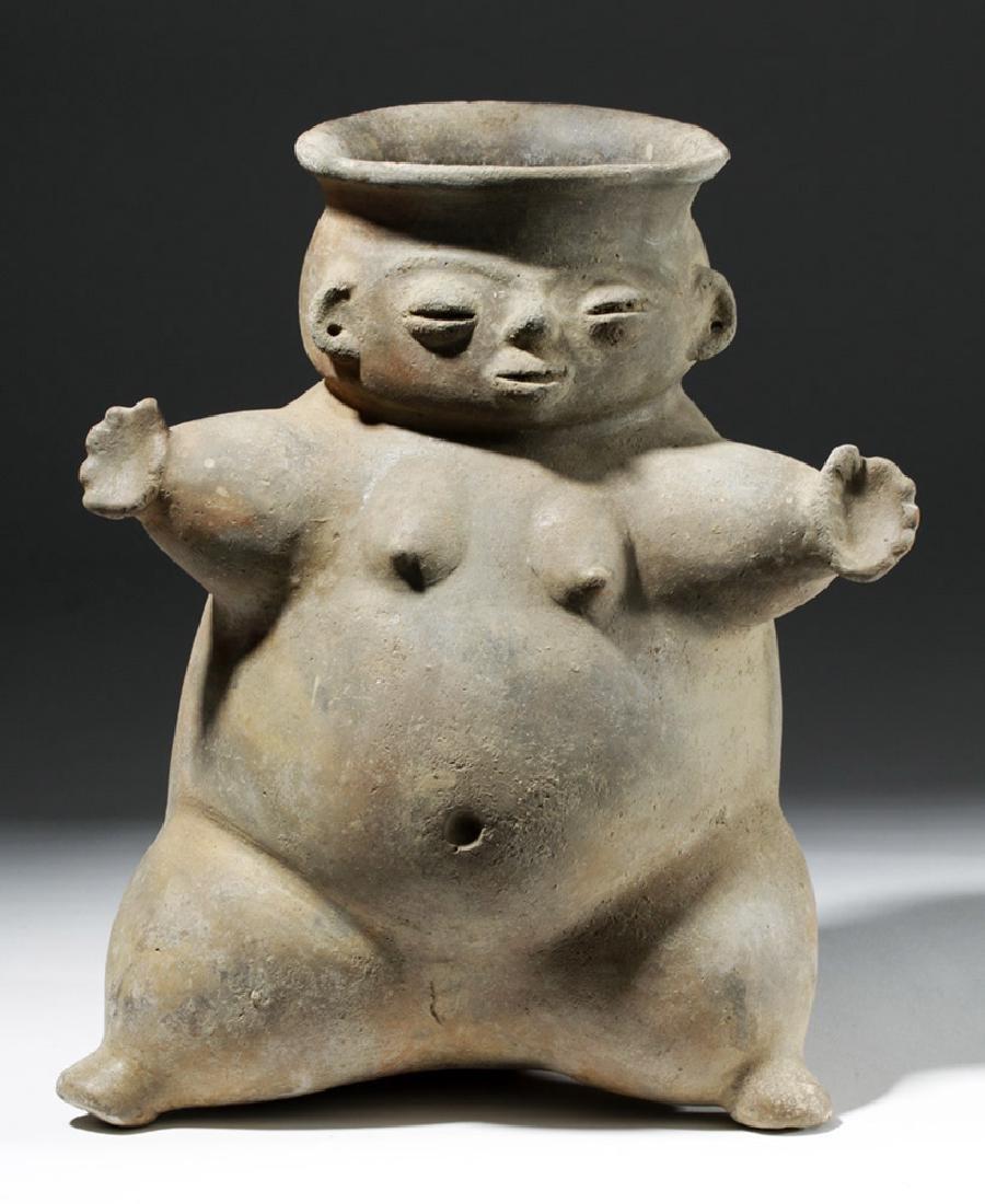 Large Tairona Pregnant Female Effigy Pottery Jar - 5