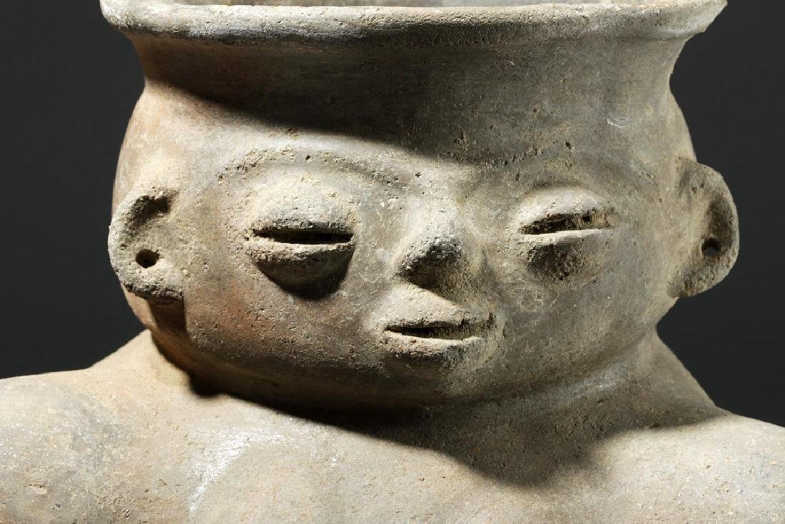 Large Tairona Pregnant Female Effigy Pottery Jar - 6