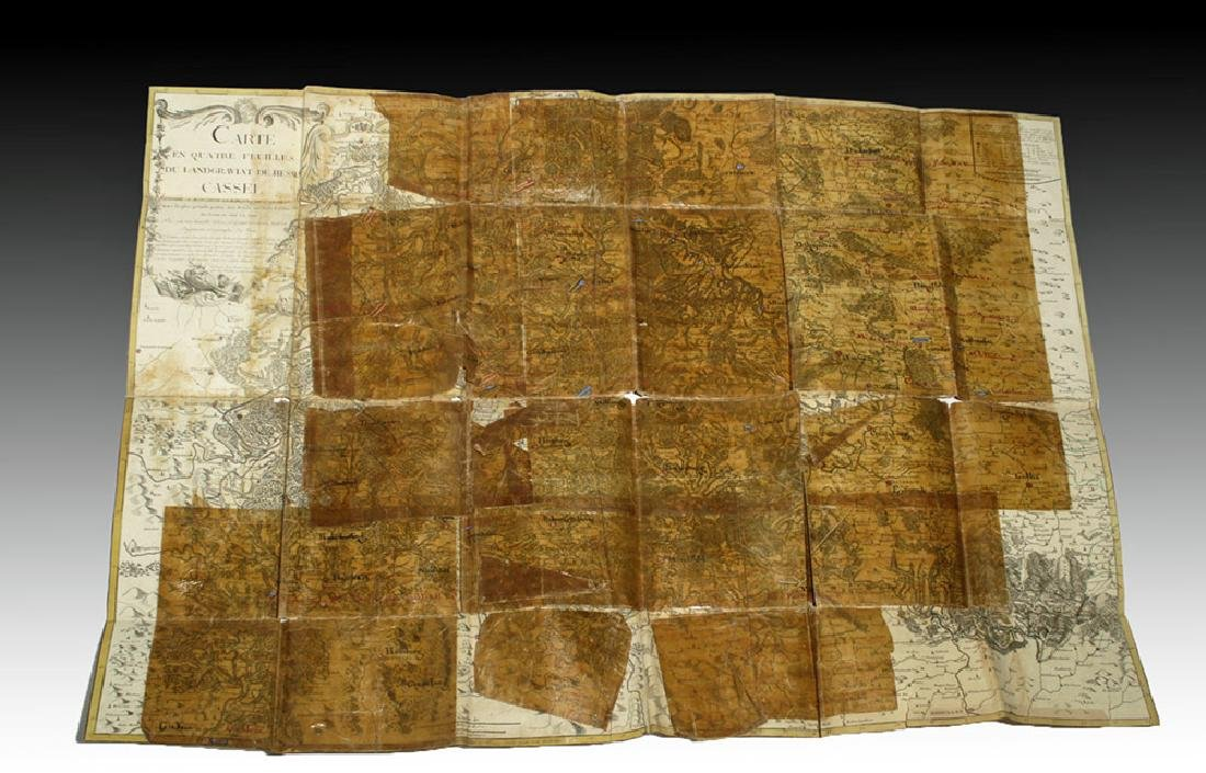 18th C. French Map w/ Oiled Paper, ex-Sotheby's