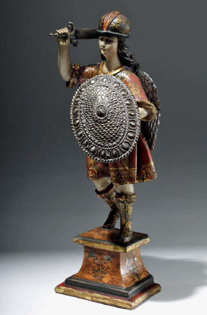 Superb 19th C. Painted Wood Santo - Archangel Michael
