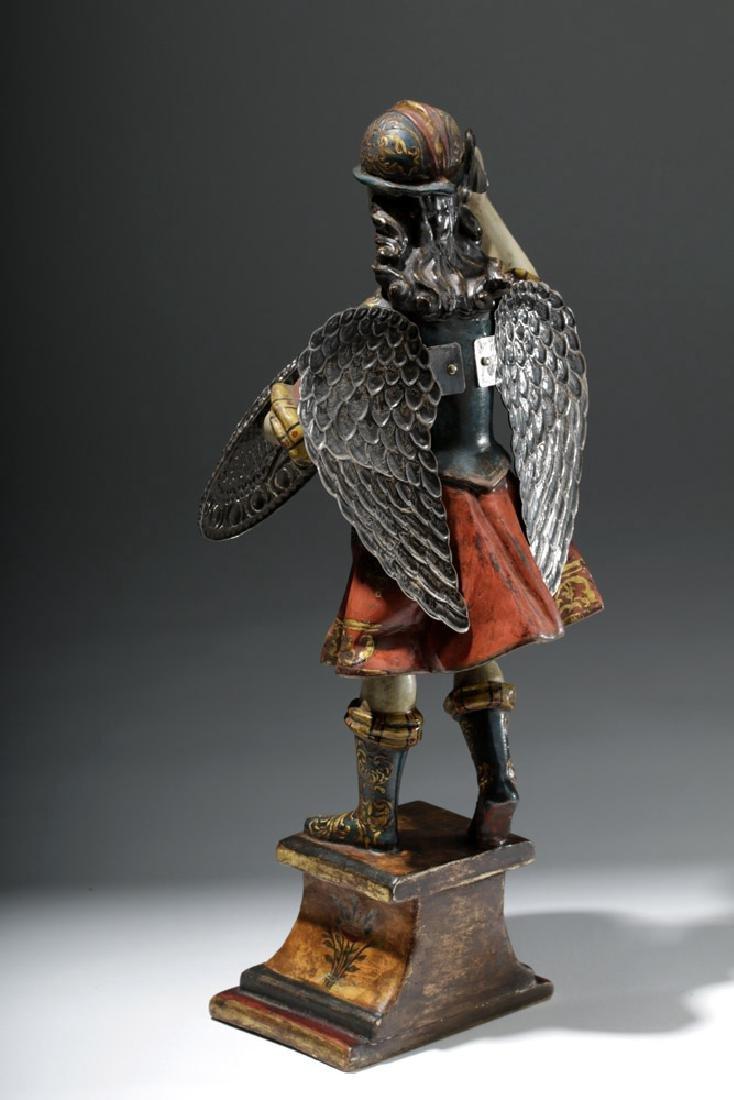 Superb 19th C. Painted Wood Santo - Archangel Michael - 2