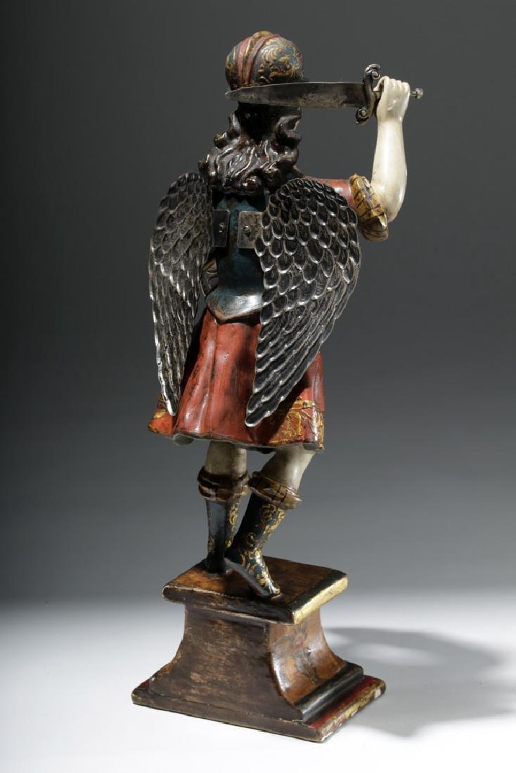 Superb 19th C. Painted Wood Santo - Archangel Michael - 3