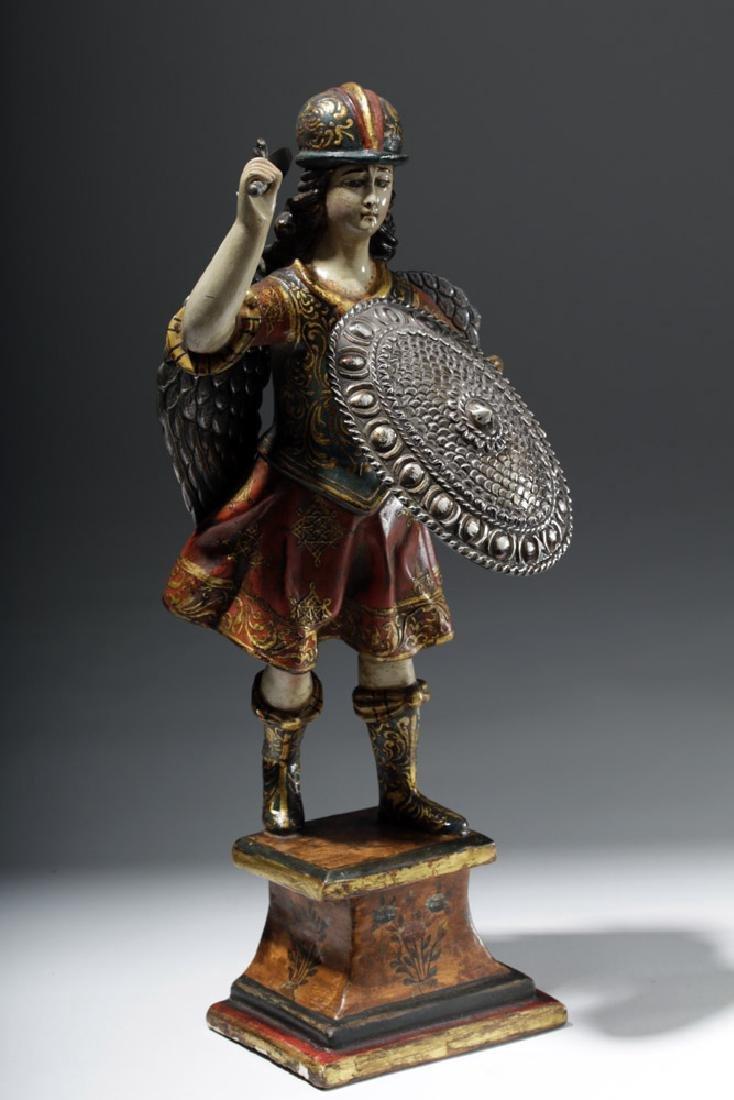 Superb 19th C. Painted Wood Santo - Archangel Michael - 4