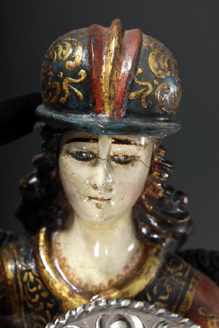 Superb 19th C. Painted Wood Santo - Archangel Michael - 6