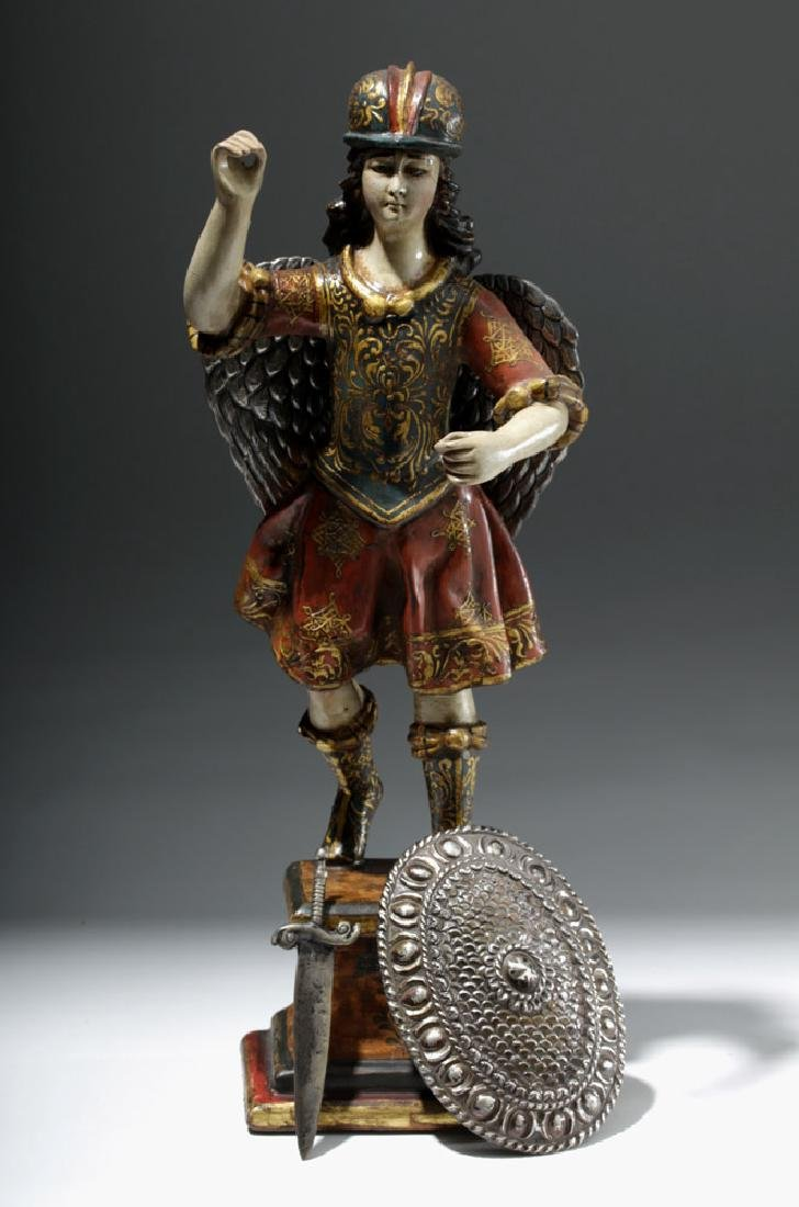 Superb 19th C. Painted Wood Santo - Archangel Michael - 9