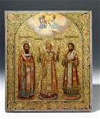 Exhibited 19th C. Russian Icon St Nicholas Holy Trinity