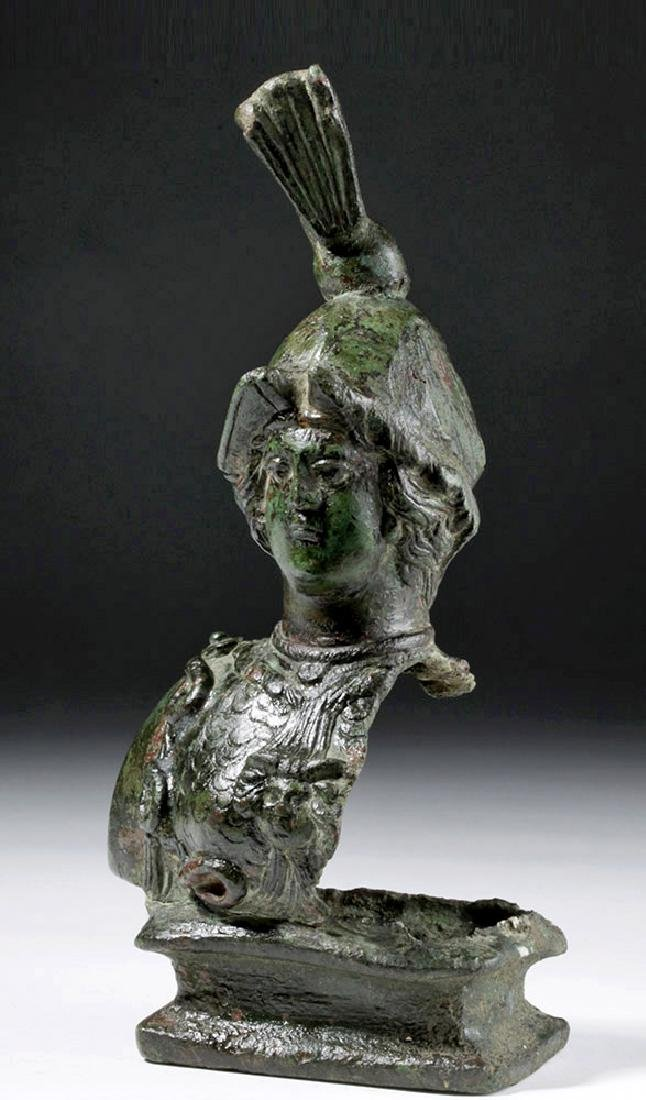 Superb Large Roman Bronze Fitting - Minerva / Athena - 3