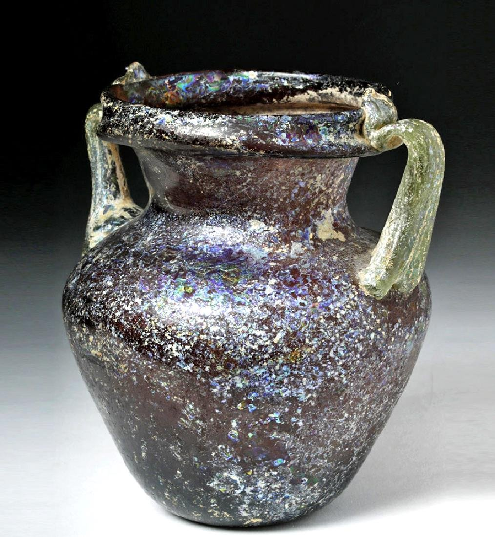 Roman Aubergine Glass Jar with Green Trail Handles