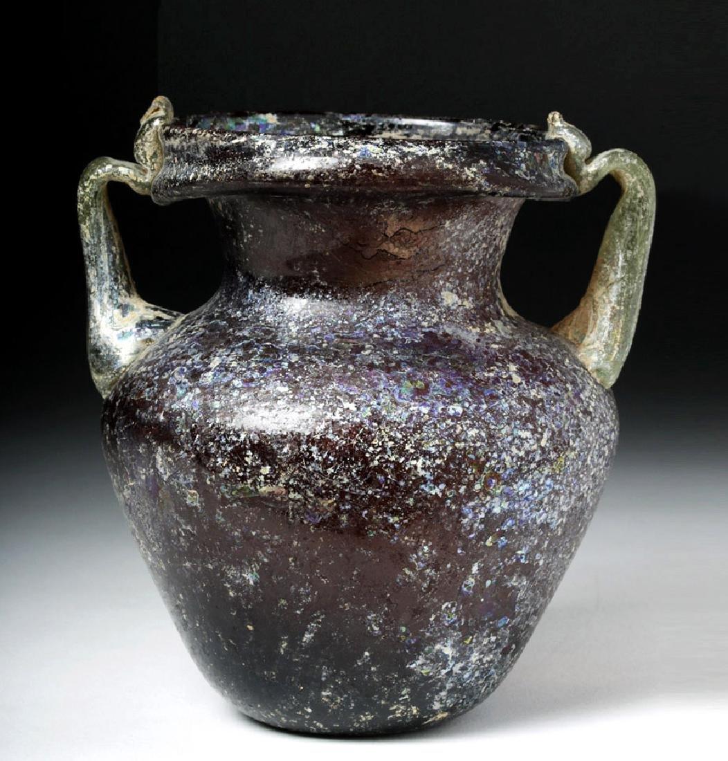 Roman Aubergine Glass Jar with Green Trail Handles - 5