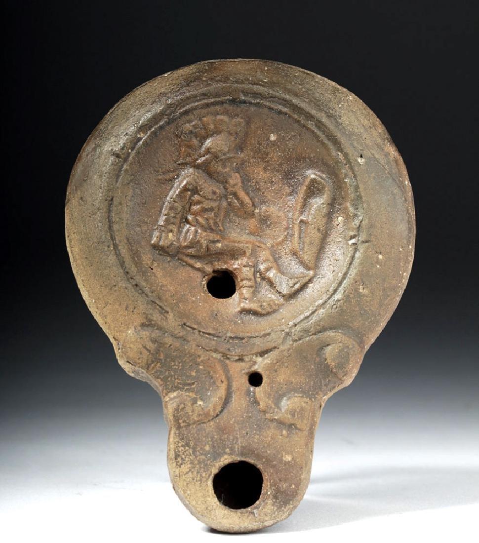 Roman Terracotta Oil Lamp with Fallen Gladiator