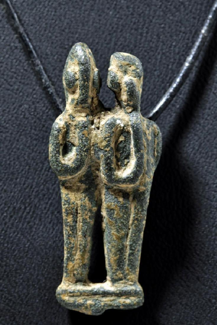 Rare Phoenician Bronze Amulet - Twin Figures, ex-Museum