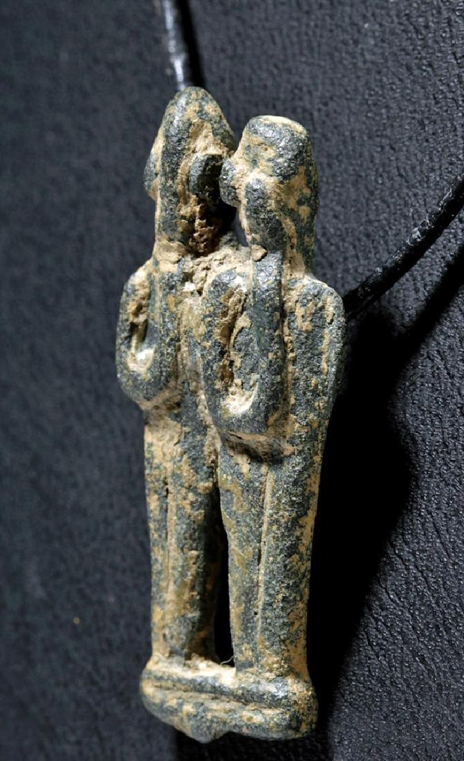 Rare Phoenician Bronze Amulet - Twin Figures, ex-Museum - 2