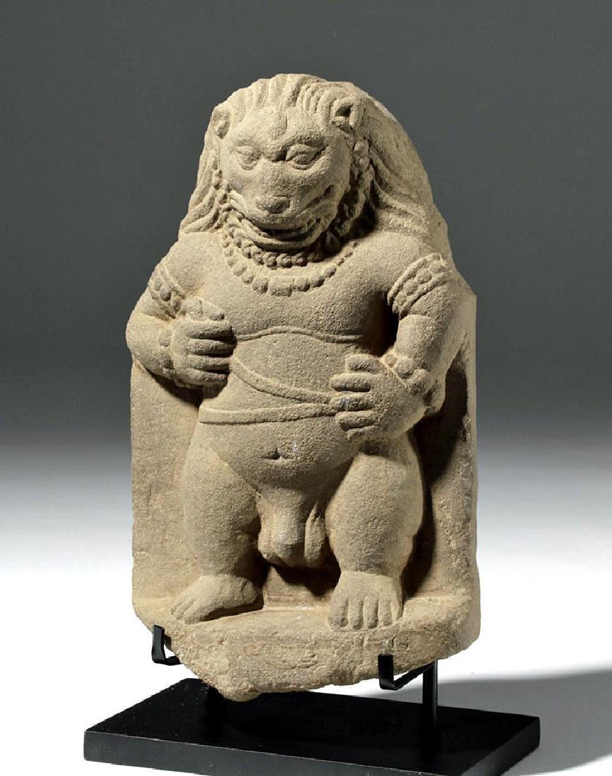 Rare / Fine Hindushahi Stone Statue of Narasimha - 5