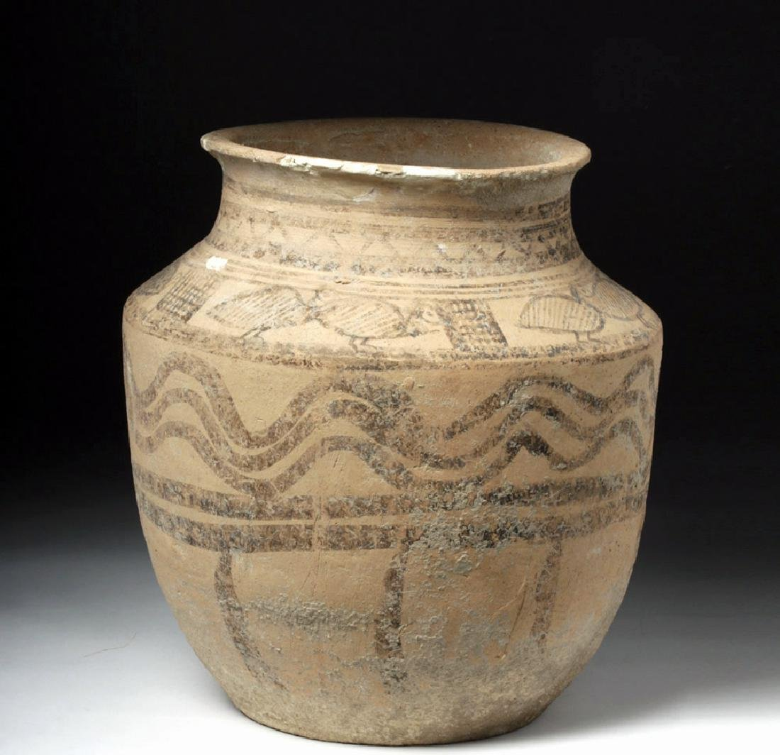 Indus Valley Decorated Pottery Burial Urn - Peacocks - 2