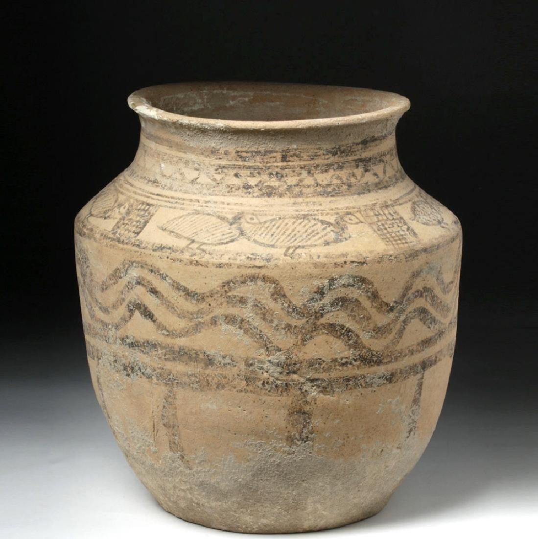 Indus Valley Decorated Pottery Burial Urn - Peacocks - 3