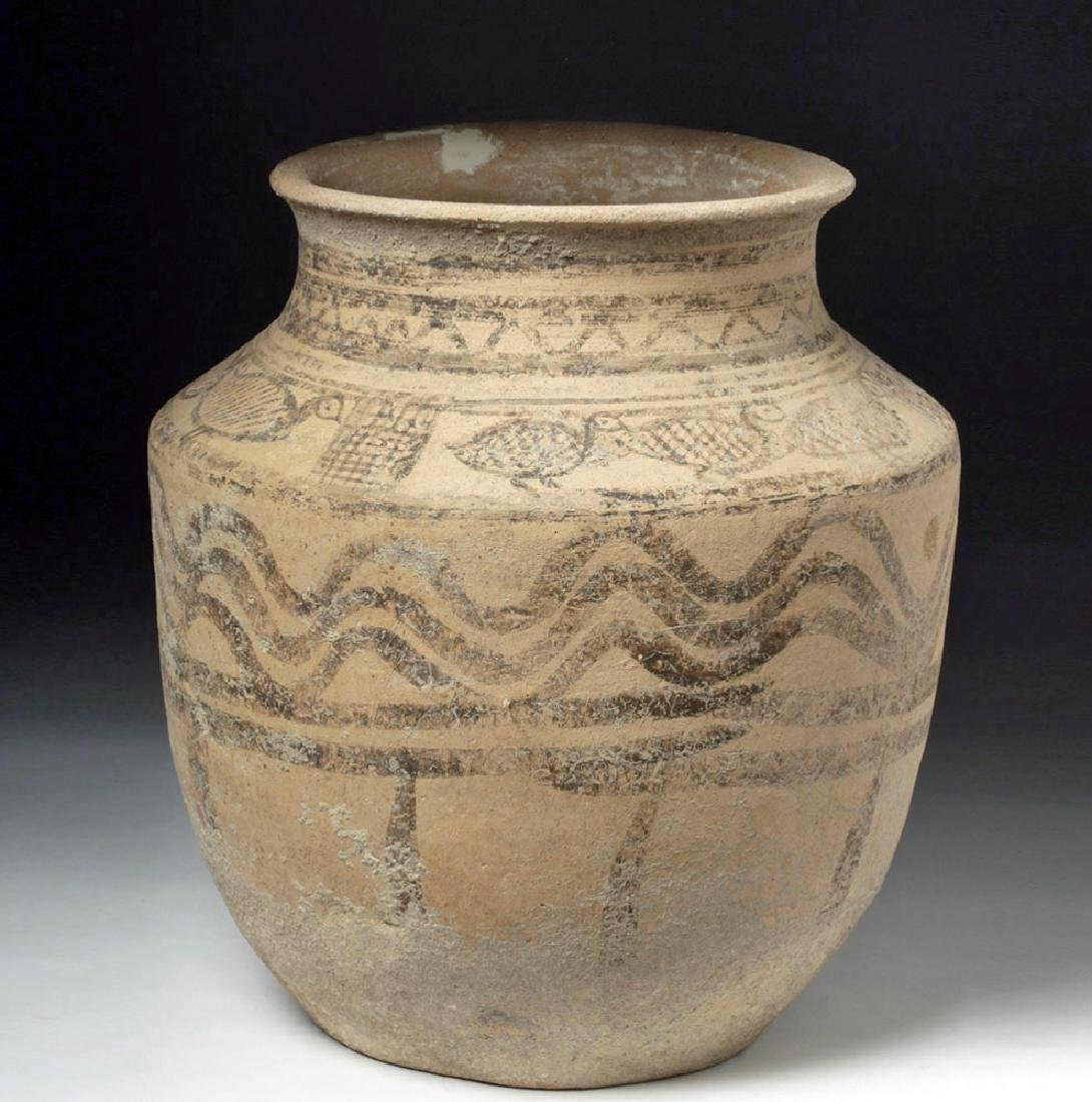Indus Valley Decorated Pottery Burial Urn - Peacocks - 4