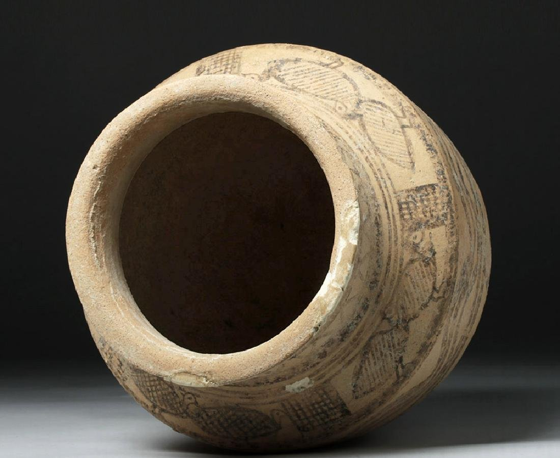 Indus Valley Decorated Pottery Burial Urn - Peacocks - 6