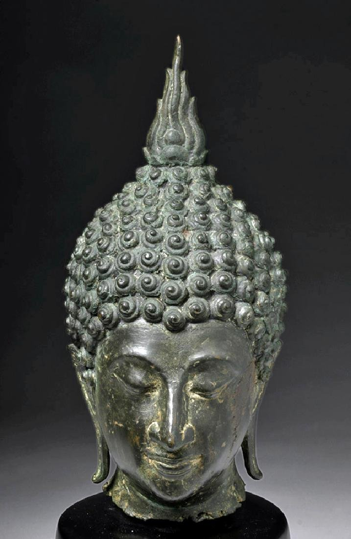 Thai Ayuthia Bronze Head of Buddha - 5