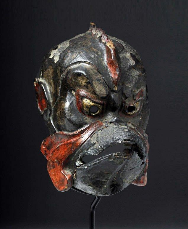 Japanese Edo Period Kanshitsu Gigaku Mask, Karura Type