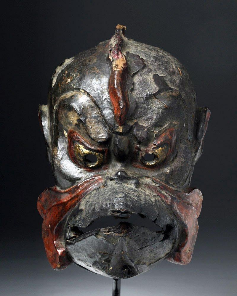 Japanese Edo Period Kanshitsu Gigaku Mask, Karura Type - 2