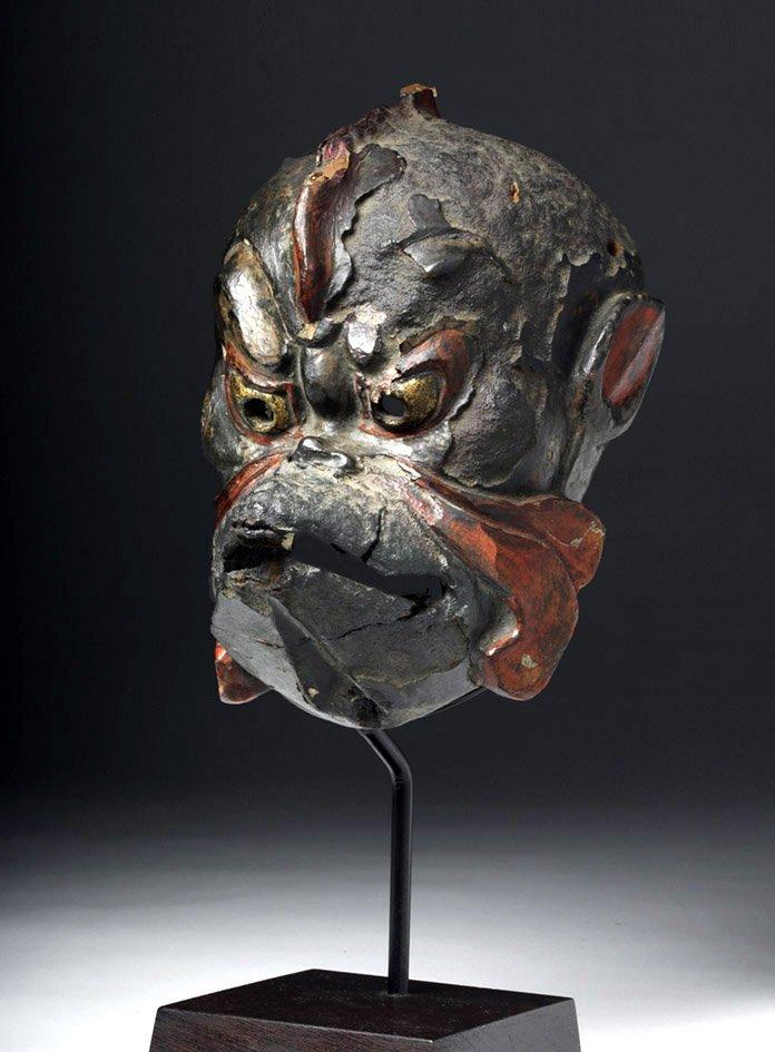 Japanese Edo Period Kanshitsu Gigaku Mask, Karura Type - 3