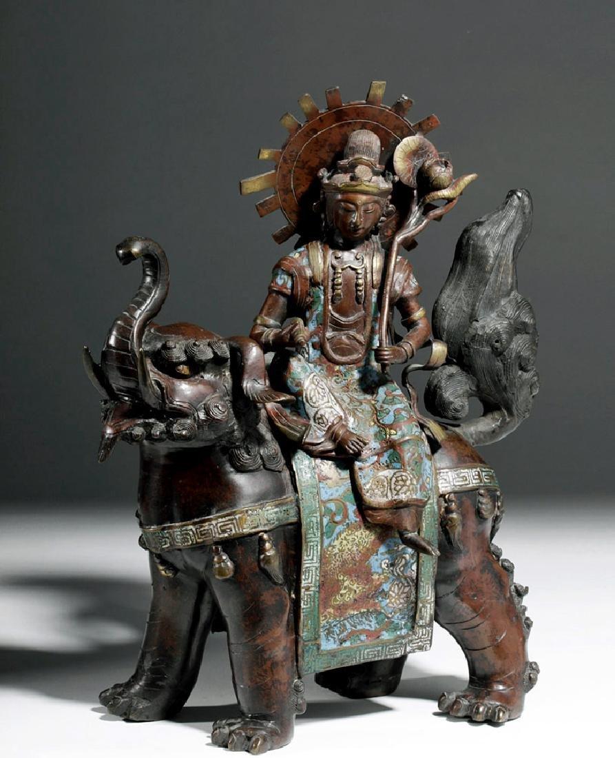 18th C. Tokugawa Japanese Bronze Champlevé Bodhisattva