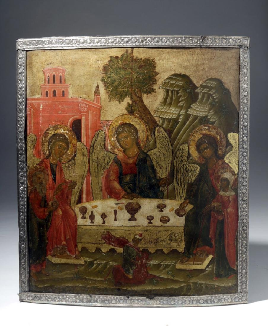 Published 18th C. Russian Icon - Old Testament Trinity