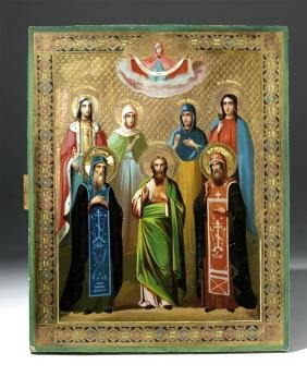 Exhibited 19th C. Russian Icon - Chosen Saints