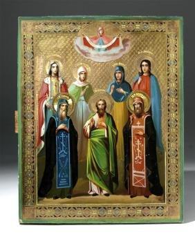 Exhibited 19th C. Russian Icon - Chosen Saints