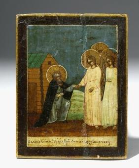 19th C. Near Mini Russian Icon - St. Alexander Svirsky