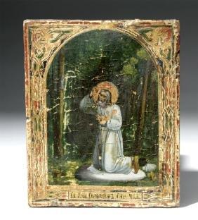 19th C. Near Mini Russian Icon - St. Seraphim of Sarov