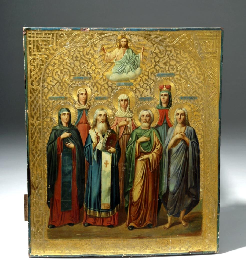 19th C. Russian Icon, Chosen Saints Blessed by Our Lord