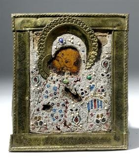 19th C. Russian Icon Virgin of Kiss, Brass Oklad, Beads