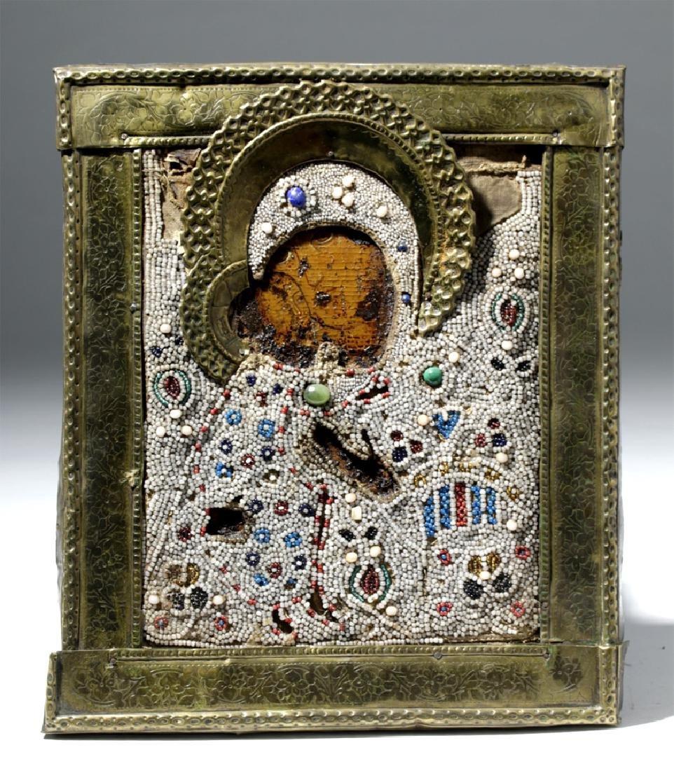 19th C. Russian Icon Virgin of Kiss, Brass Oklad, Beads
