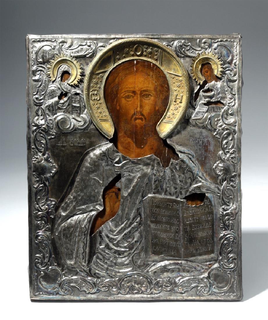 Exhibited 19th C. Russian Icon / Silver Oklad - Christ