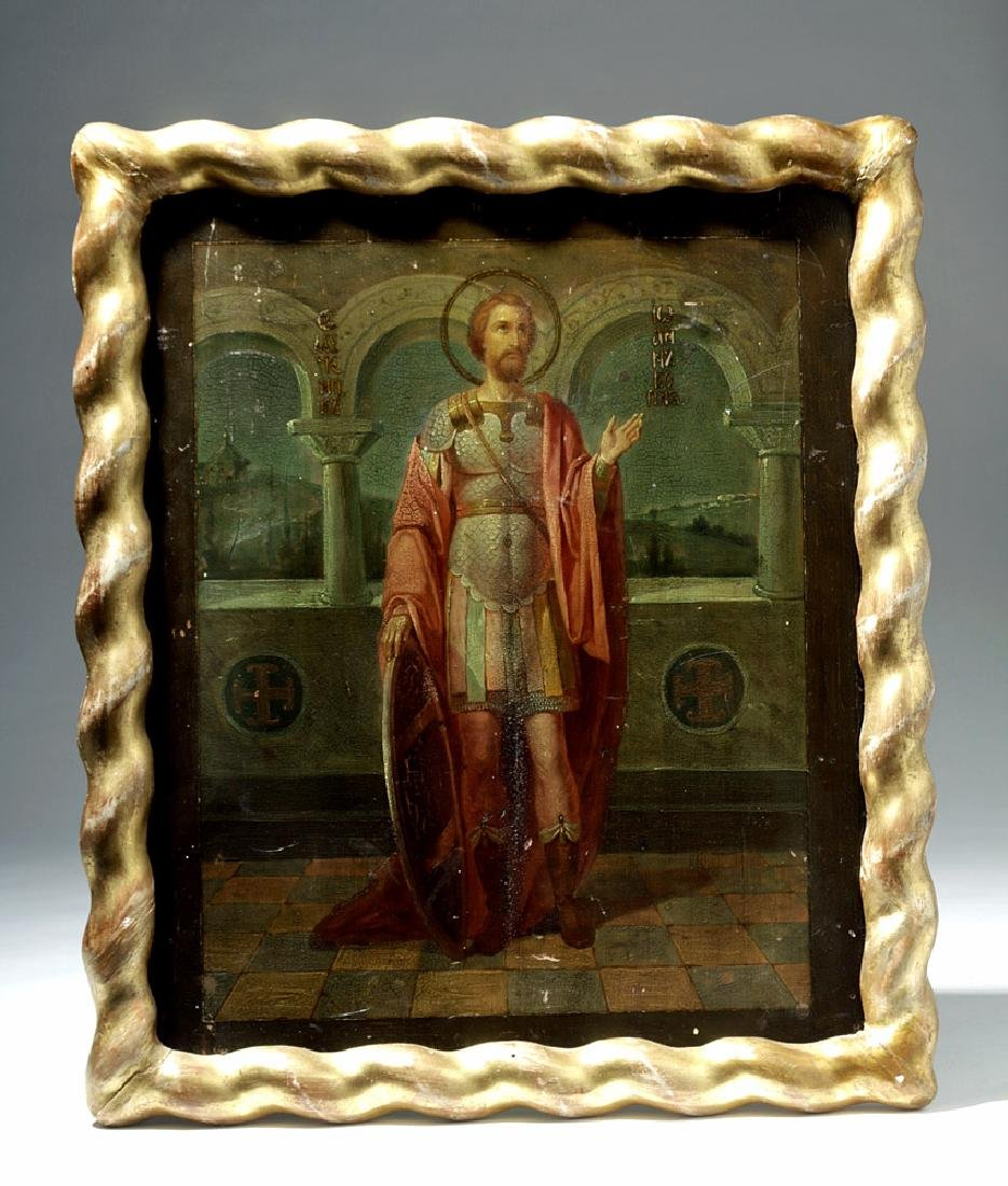 Exhibited 19th C. Russian Icon - St. Alexander Nevskii