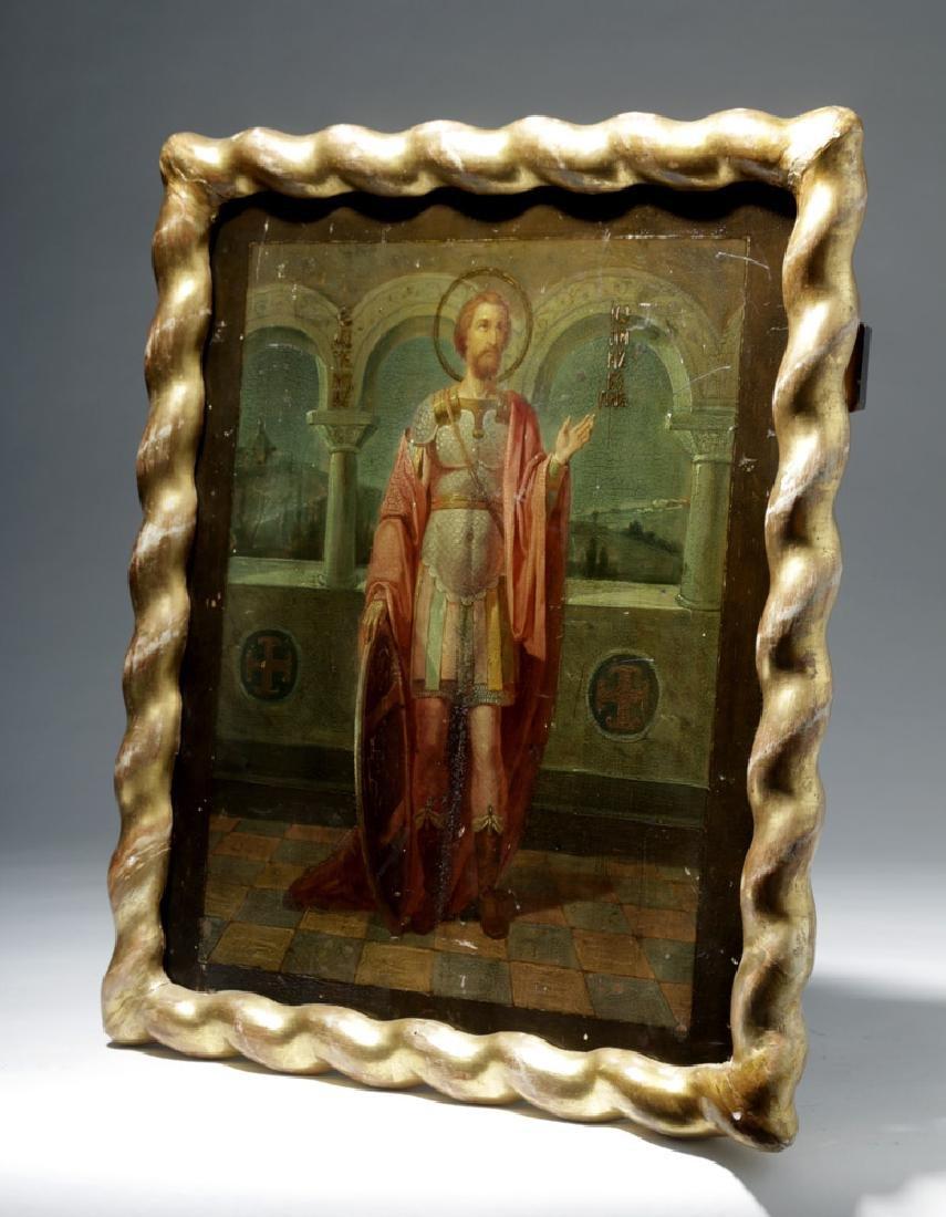 Exhibited 19th C. Russian Icon - St. Alexander Nevskii - 5