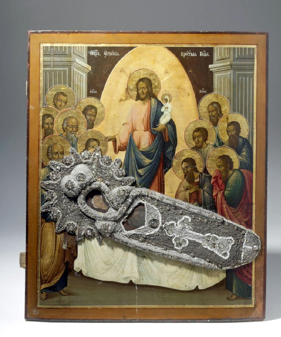 Exhibited 19th C. Russian Icon, Dormition of the Virgin