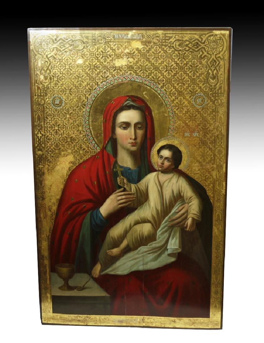 Exhibited / Monumental 19th C. Russian Icon - Theotokos