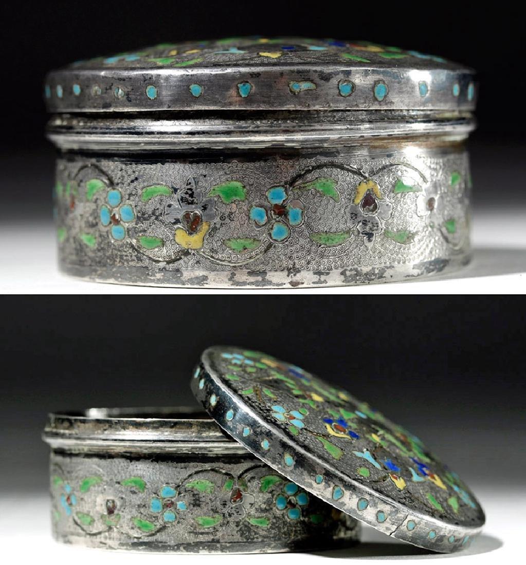 Early 20th C. Russian Enameled Silver Lidded Box