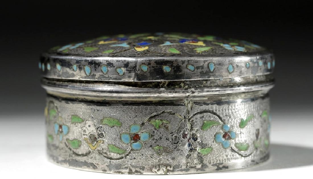 Early 20th C. Russian Enameled Silver Lidded Box - 3