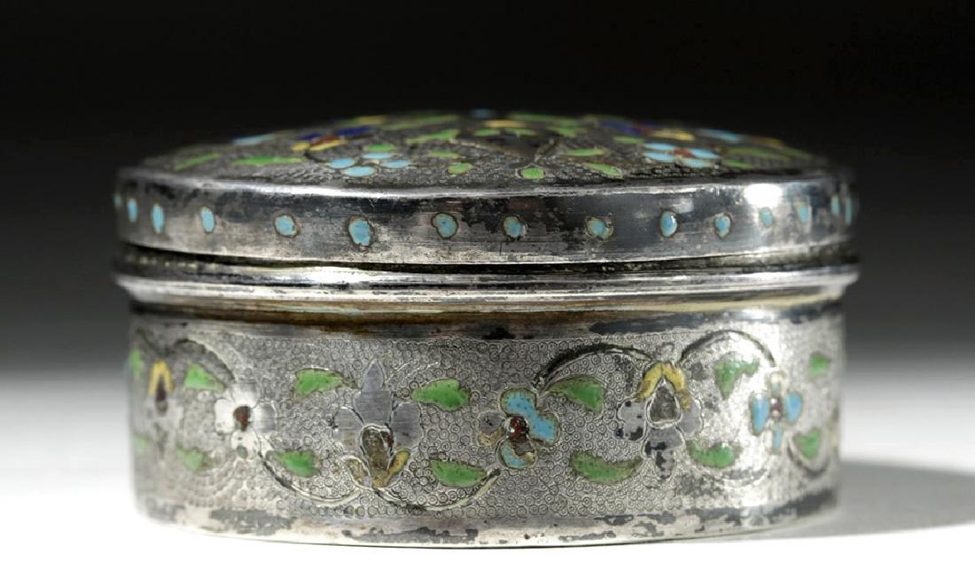 Early 20th C. Russian Enameled Silver Lidded Box - 4
